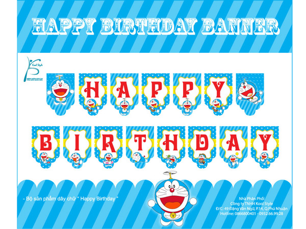 Dây Chữ Happy Birthday Doraemon