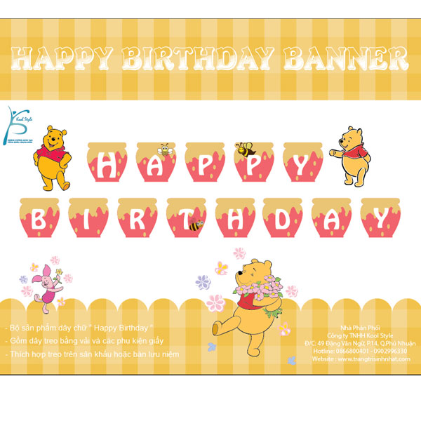 Dây chữ sinh nhật gấu Pooh