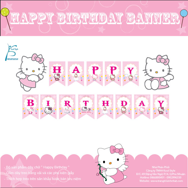 DÂY CHỮ HAPPY BIRTHDAY MÈO KITTY