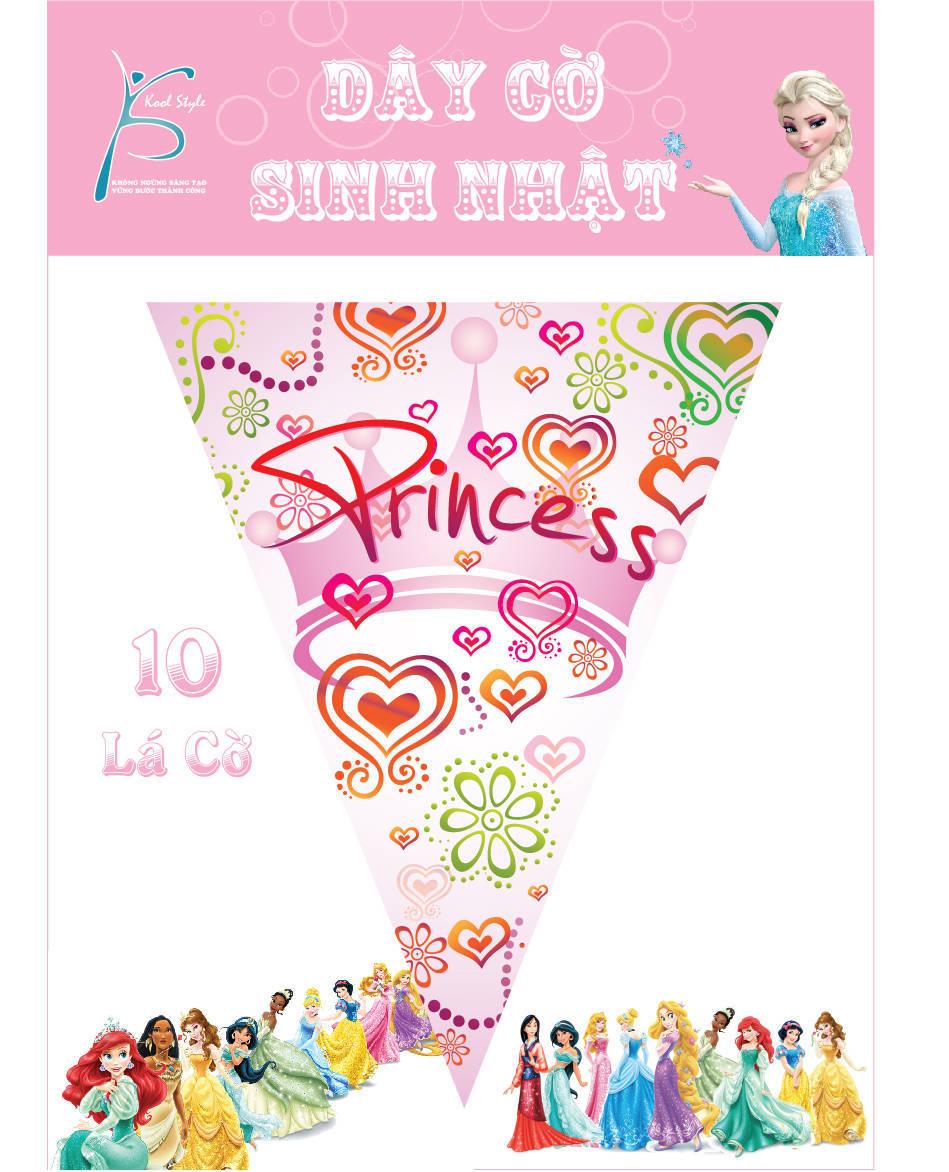 Dây cờ trang trí sinh nhật chủ đề công chúa