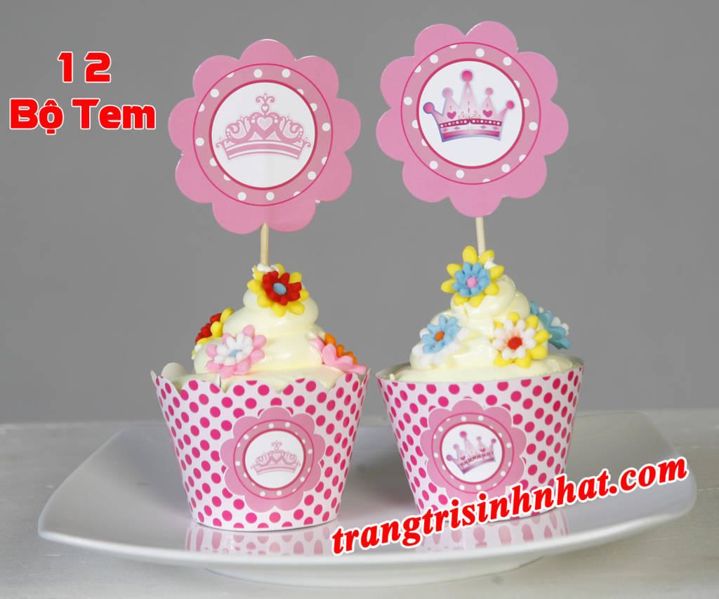 Tem bánh cupcake sinh nhật chủ đề Công chúa