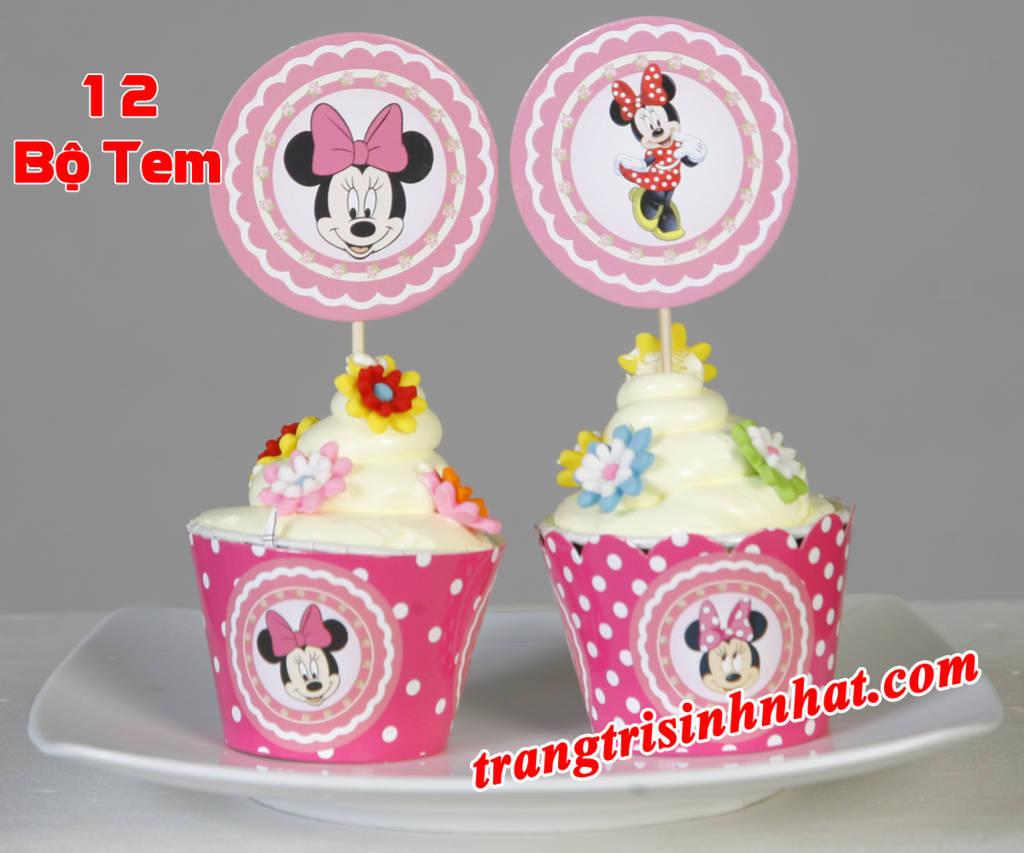 Tem bánh cupcake sinh nhật Minie