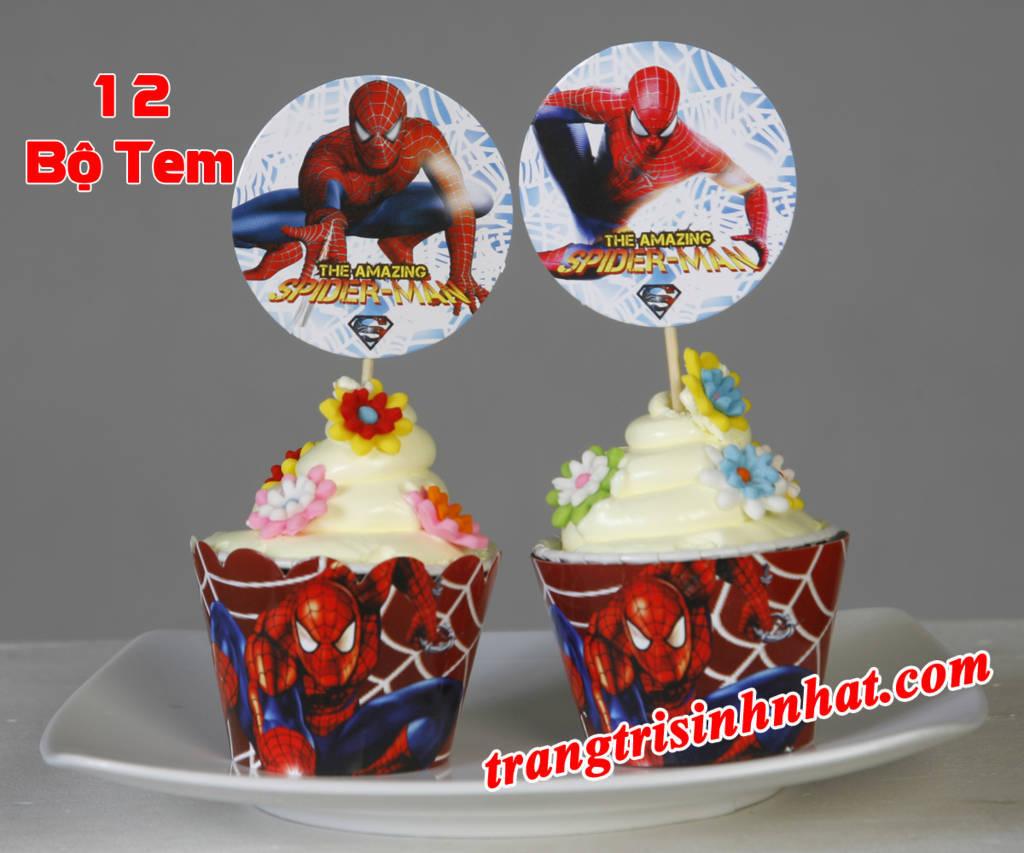 Bộ tem bánh cupcake sinh nhật Người nhện