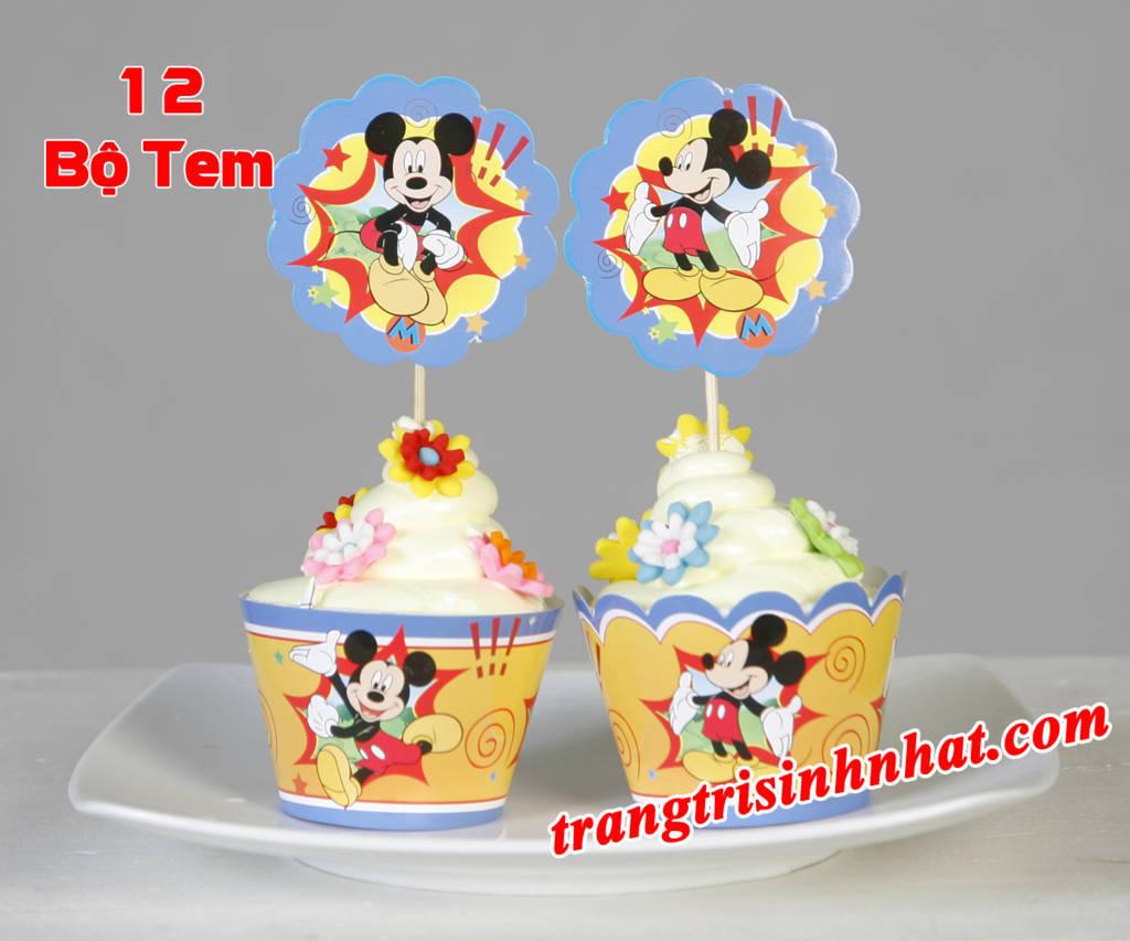 Tem bánh cupcake sinh nhật Mickey