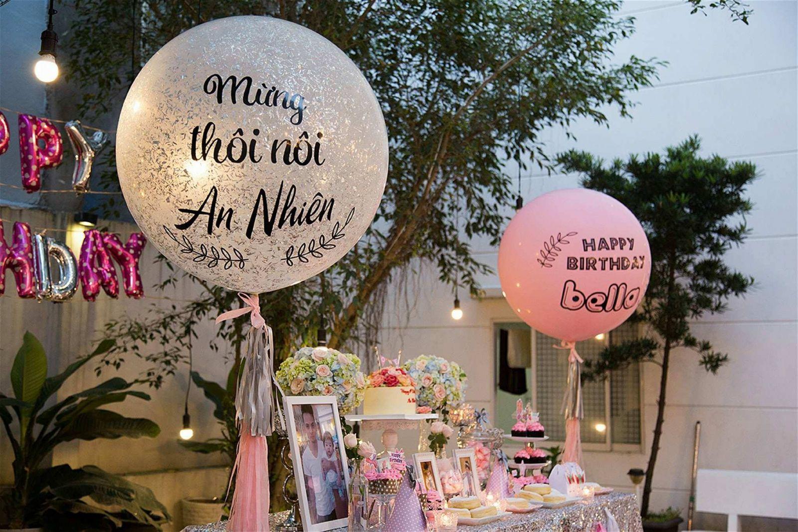 trang trí tiệc sinh nhạt bằng bong bóng